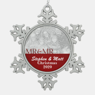 Mr. & Mr. Red Gay Marriage Christmas Photo Pewter Snowflake Ornament