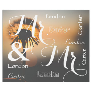 Mr & Mr Summer Scene Personalized Names Wrapping Paper