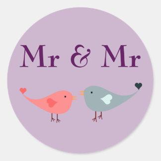 Mr & Mr (wedding) Classic Round Sticker