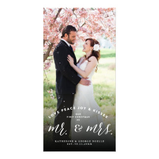 Mr & Mrs 1st Christmas Kisses Holiday Photo Card