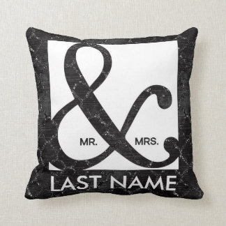 Mr. & Mrs. Ampersand Black Glitter Pillow