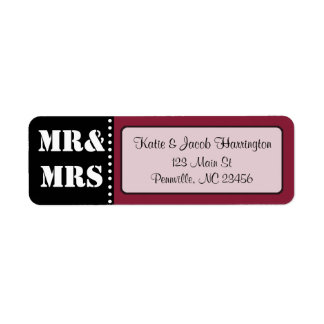 Mr & Mrs Black and Burgundy Return Address Labels