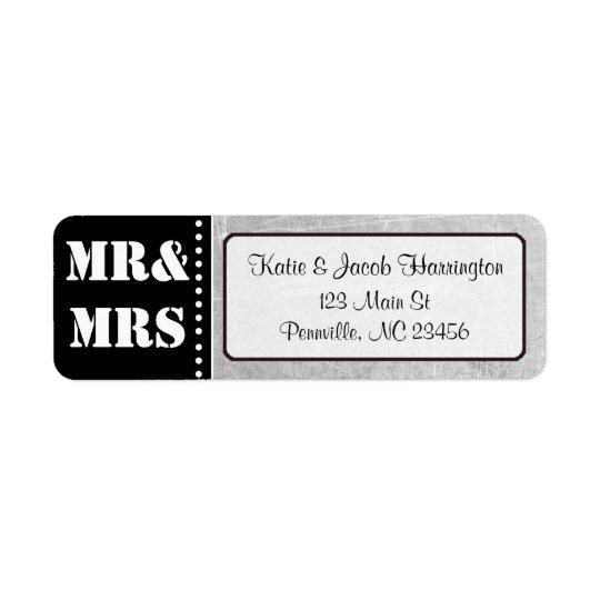 Mr & Mrs Black and Grey Return Address Labels