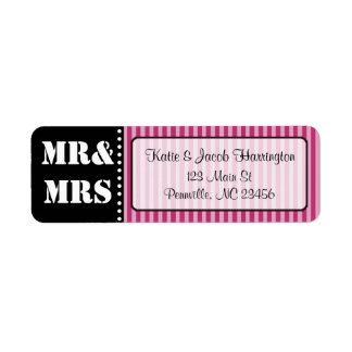 Mr & Mrs Black and Maroon Return Address Labels