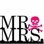Mr & Mrs Black & Pink Skull Cake Topper Standing Photo Sculpture