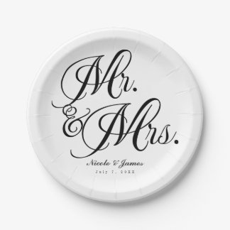 Mr. & Mrs. Black White Wedding Engagement Party 7 Inch Paper Plate