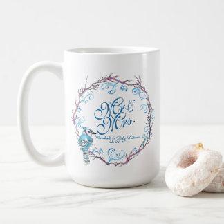 Mr & Mrs Blue Bird Floral Wedding Classic Mug