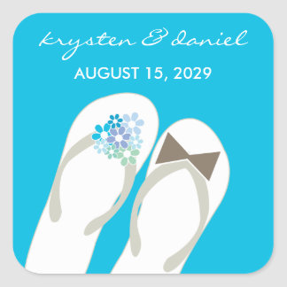 Mr & Mrs Blue Flip Flops Beach Wedding Sticker