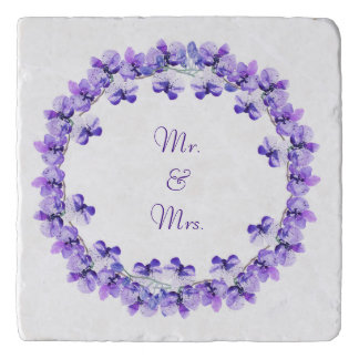Mr. & Mrs. Blue Violet Water Colour Orchid Trivet