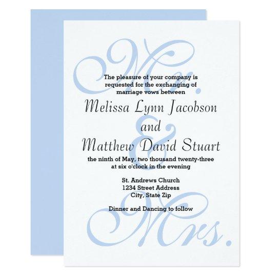 Mr. & Mrs. Blue - Wedding Invitation