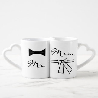 Mr. & Mrs. Bow Tie & Bow, w/ Joining Heart on Back Coffee Mug Set
