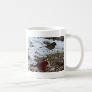 Mr.&Mrs. Cardinal Feeding On The Ground Coffee Mug