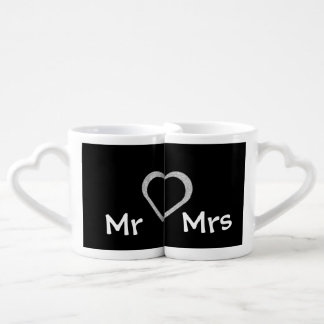 Mr & Mrs Chalkboard Heart Honeymoon Mugs