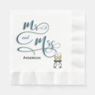 Mr & Mrs. champagne toast Paper Napkins