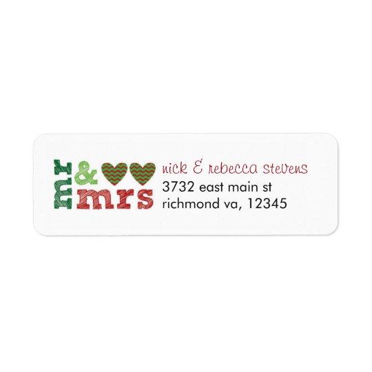 Mr & Mrs Christmas Hearts Address Labels