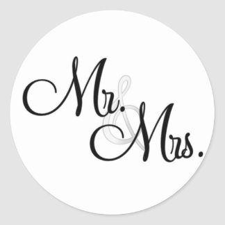 Mr & Mrs. Cupcake Toppers Classic Round Sticker