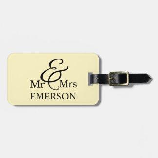 Mr & Mrs custom name Luggage Tag