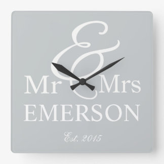 Mr & Mrs custom name Square Wall Clock