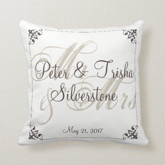 Mr&Mrs Custom Wedding Pillow, Wedding/Shower Gift Throw Pillow
