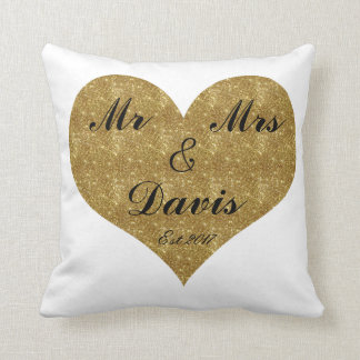 Mr & Mrs Customize Gold Heart Pillow