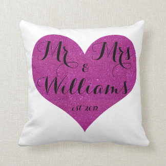 Mr & Mrs Customize Pink Heart Pillow