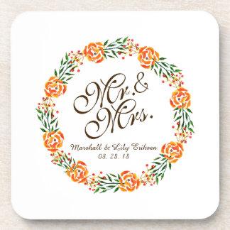 Mr. & Mrs. Elegant Floral Wedding   Coaster