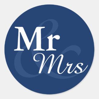Mr&Mrs Elegant Typography Nautical Wedding Favor Classic Round Sticker