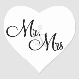 Mr & Mrs. ENVELOPE & FAVOR Heart STICKERS