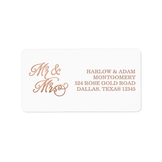 Mr & Mrs Faux Copper Label