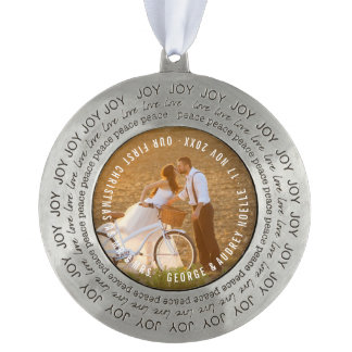 Mr & Mrs First Christmas Wedding Photo Ornament Round Pewter Ornament