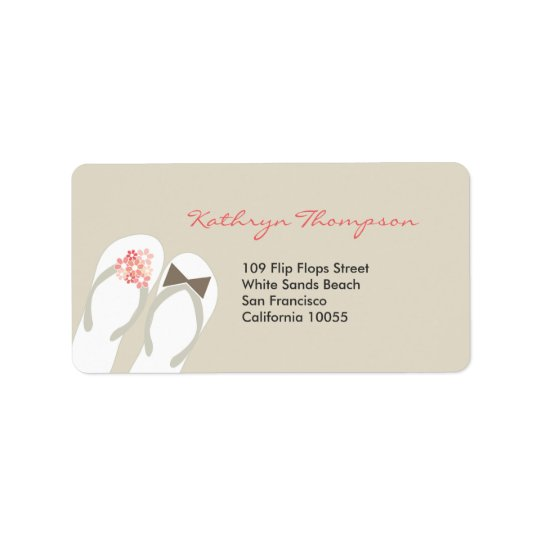 Mr & Mrs Flip Flops Beach Wedding Address Labels