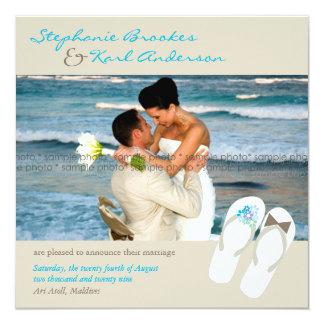 Mr & Mrs Flip Flops Beach Wedding Announcement