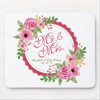 Mr. & Mrs. Floral Watercolor Wedding | Mousepad