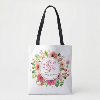 Mr. & Mrs. Floral Watercolor Wedding Tote Bag