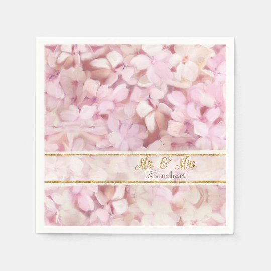 Mr. & Mrs. Gold Faux Glitter Pink Hydrangea Floral Paper Napkins