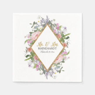 Mr. & Mrs. Gold Faux Glitter Wildflower Floral Art Paper Napkin
