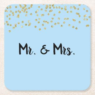 Mr. & Mrs. Gold Glitter Sparkle Square Paper Coaster