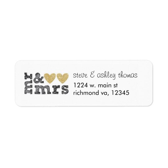 Mr & Mrs Gold Hearts Address Labels