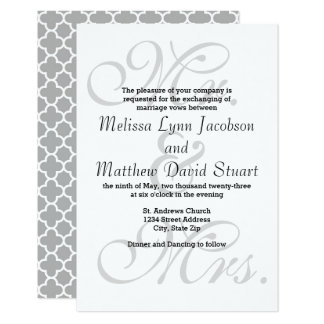 Mr. & Mrs. Gray Quatrefoil - 3x5Wedding Invitation