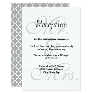 Mr. & Mrs. Gray Quatrefoil - Reception Invitation
