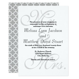 Mr. & Mrs Gray Quatrefoil. - Wedding Invitation