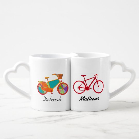 mr mrs his her bicycles coffee mug set