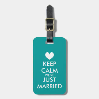 Mr & Mrs keep calm just married travel luggage tag