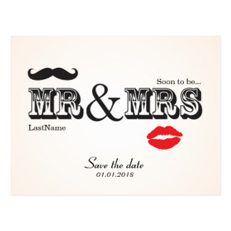 Mr Mrs Lips Moustache save the date postcard