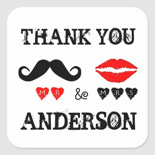 Mr. & Mrs. Lips & Moustache Wedding Favour Square Sticker