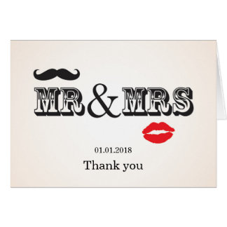 Mr Mrs Lips Moustache Wedding thank you card