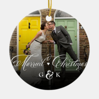 Mr & Mrs Married Christmas Wedding Photo Ornament