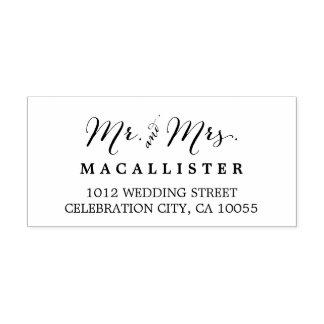 Mr & Mrs Modern Script Wedding Self Inking Stamp
