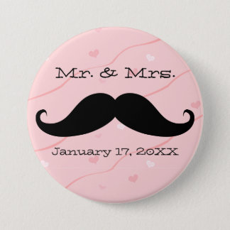 Mr. & Mrs. Moustache Button