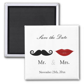 Mr. & Mrs. Mustache and Lips - Save the Date Magnet